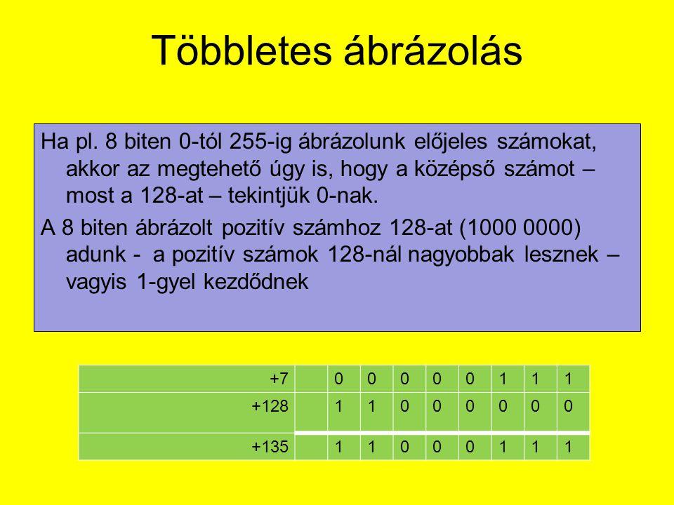Többletes ábrázolás Ha pl. 8 biten 0-tól 255-ig ábrázolunk előjeles számokat, akkor az megtehető úgy is, hogy a középső számot – most a 128-at – tekin