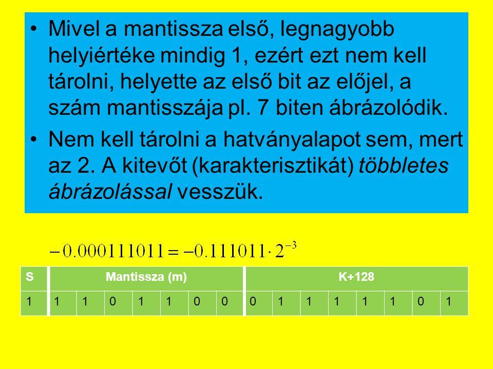 Mivel a mantissza első, legnagyobb helyiértéke mindig 1, ezért ezt nem kell tárolni, helyette az első bit az előjel, a szám mantisszája pl. 7 biten áb