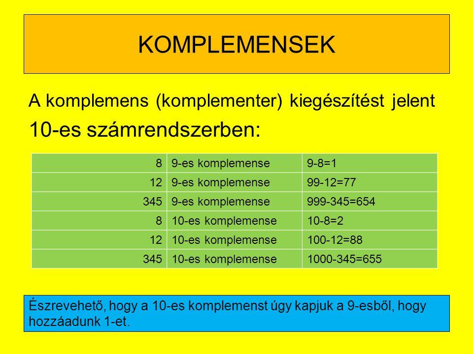 KOMPLEMENSEK A komplemens (komplementer) kiegészítést jelent 10-es számrendszerben: 89-es komplemense9-8=1 129-es komplemense99-12=77 3459-es kompleme