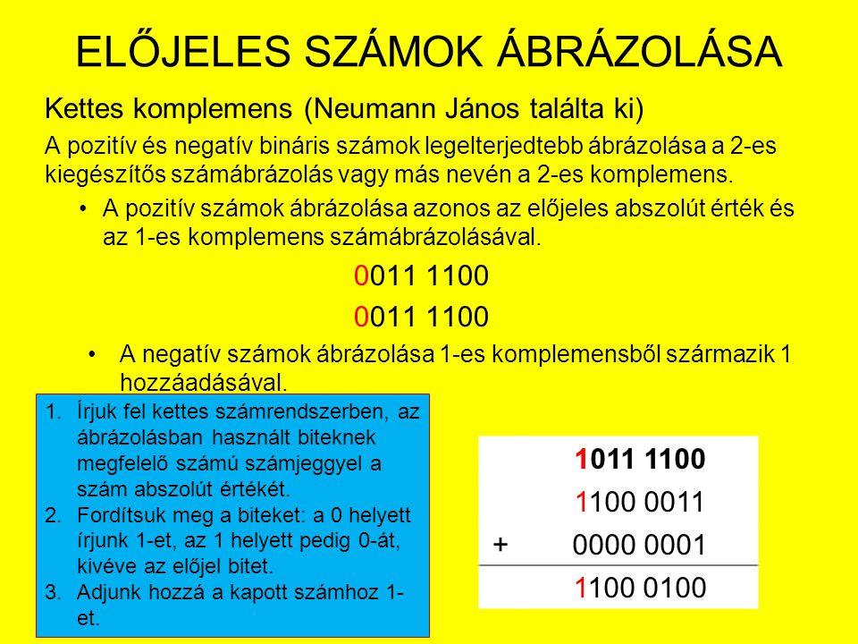 ELŐJELES SZÁMOK ÁBRÁZOLÁSA Kettes komplemens (Neumann János találta ki) A pozitív és negatív bináris számok legelterjedtebb ábrázolása a 2-es kiegészí