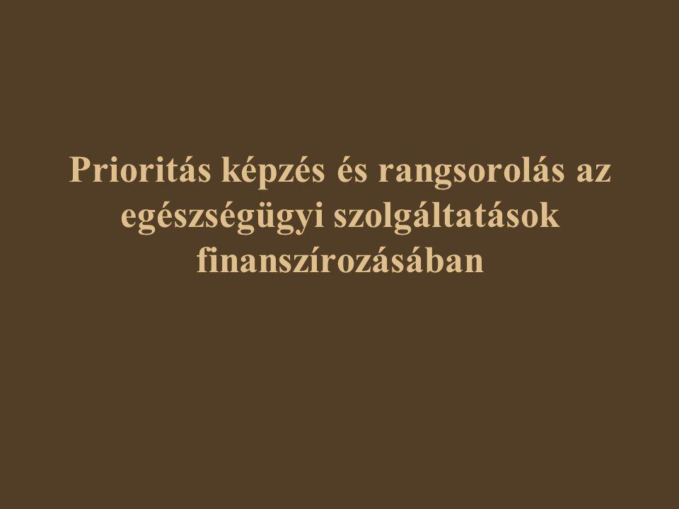 Főbb témakörök A prioritásképzés elméleti alapjai A prioritásképzés elméleti szintjei A prioritásképzés és rangsorolás nemzetközi viszonylatban Hazai példák az egészségbiztosító gyakorlatából Az egészségügyi önrész fizetést, a biztosítási csomagokat és a várólistákat szabályozó reformjavaslat A bizonyítékokon alapuló szolgáltatásvásárlás Transzparens befogadás-politikai rendszer
