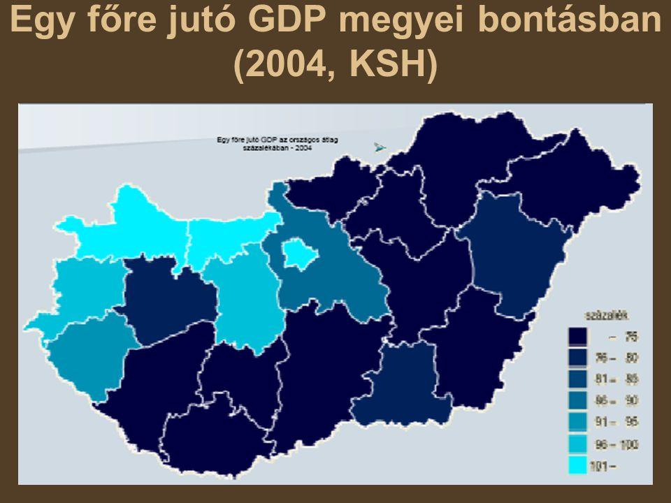 Egy főre jutó GDP megyei bontásban (2004, KSH)