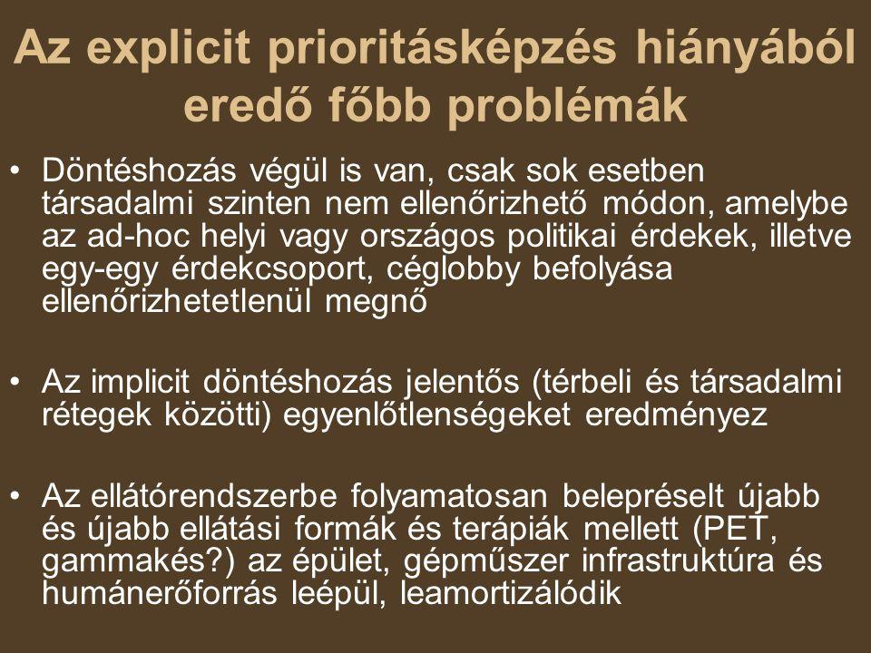 Az explicit prioritásképzés hiányából eredő főbb problémák Döntéshozás végül is van, csak sok esetben társadalmi szinten nem ellenőrizhető módon, amel