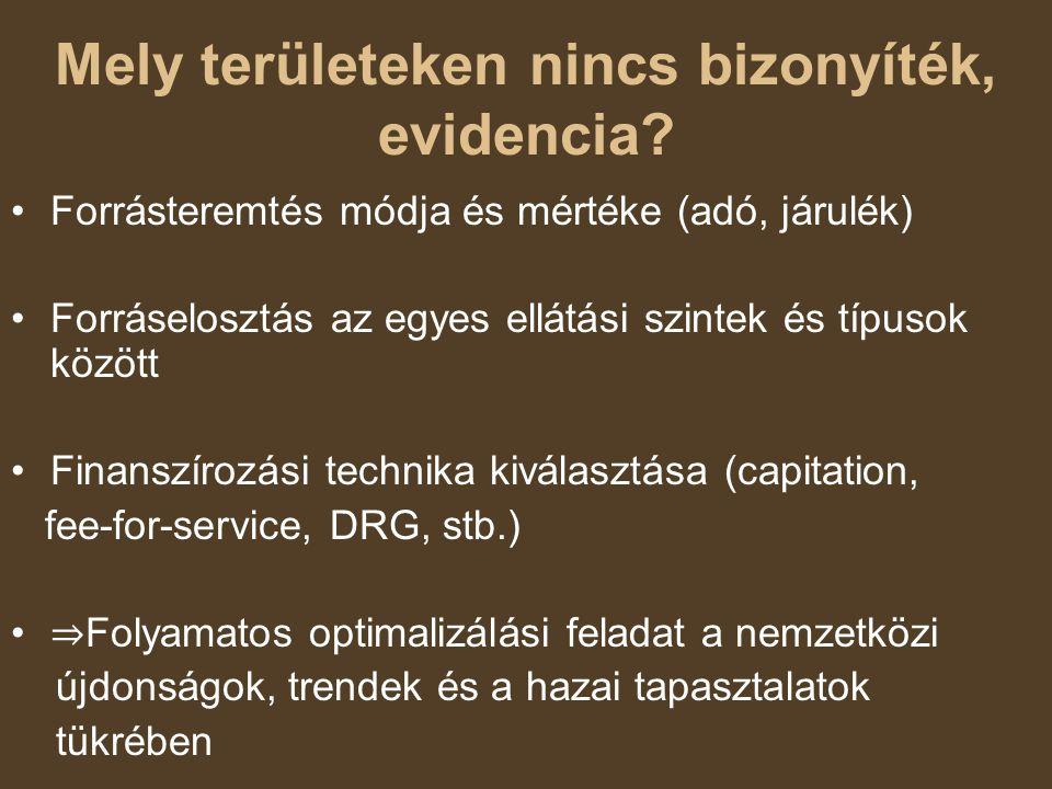 Mely területeken nincs bizonyíték, evidencia? Forrásteremtés módja és mértéke (adó, járulék) Forráselosztás az egyes ellátási szintek és típusok közöt