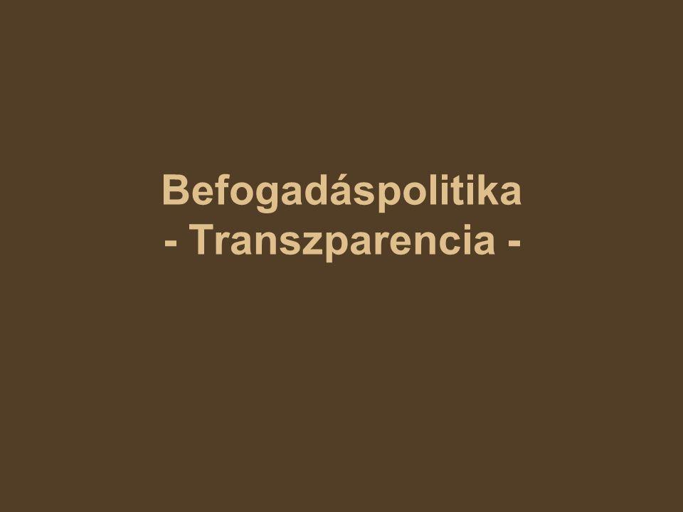 Befogadáspolitika - Transzparencia -