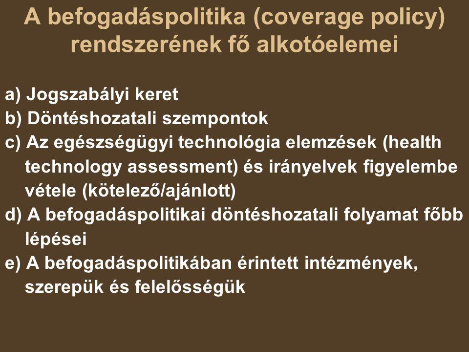 A befogadáspolitika (coverage policy) rendszerének fő alkotóelemei a) Jogszabályi keret b) Döntéshozatali szempontok c) Az egészségügyi technológia el