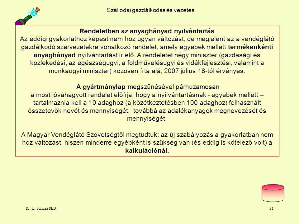 Dr. L. Juhasz PhD31 Szállodai gazdálkodás és vezetés Rendeletben az anyaghányad nyilvántartás Az eddigi gyakorlathoz képest nem hoz ugyan változást, d