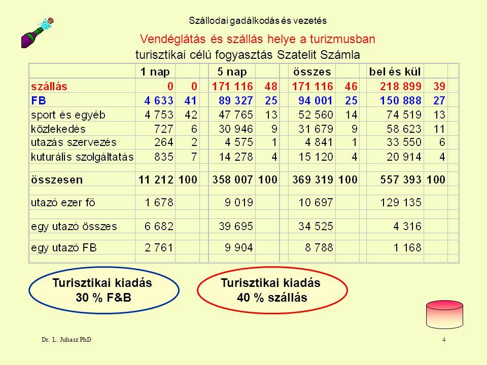 Dr. L. Juhasz PhD4 Szállodai gadálkodás és vezetés turisztikai célú fogyasztás Szatelit Számla Vendéglátás és szállás helye a turizmusban Turisztikai
