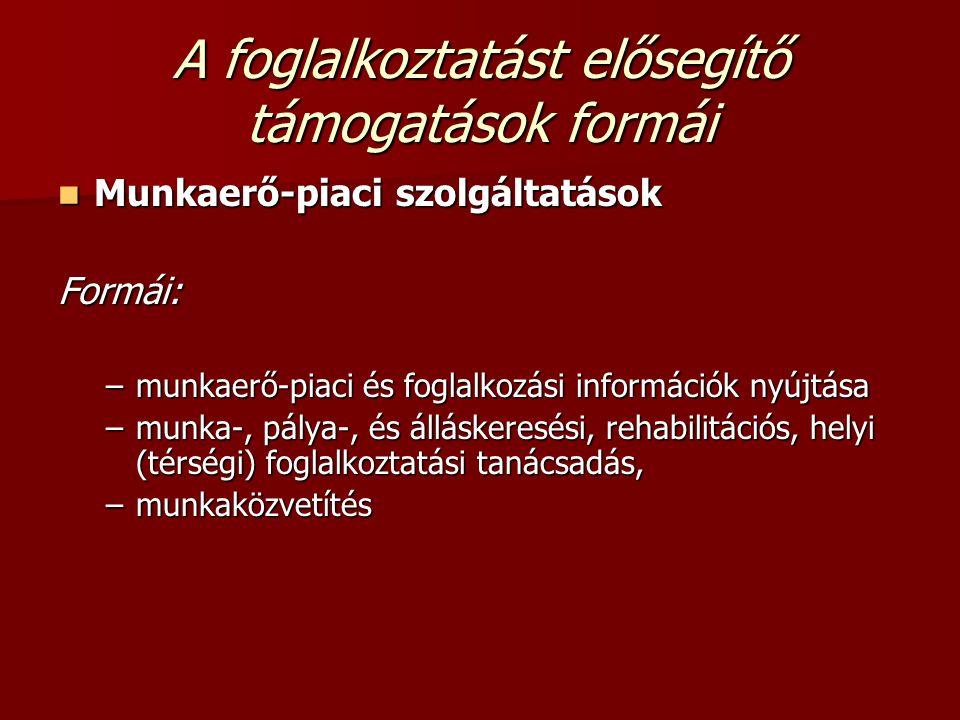 A foglalkoztatást elősegítő támogatások formái Munkaerő-piaci szolgáltatások Munkaerő-piaci szolgáltatásokFormái: –munkaerő-piaci és foglalkozási info