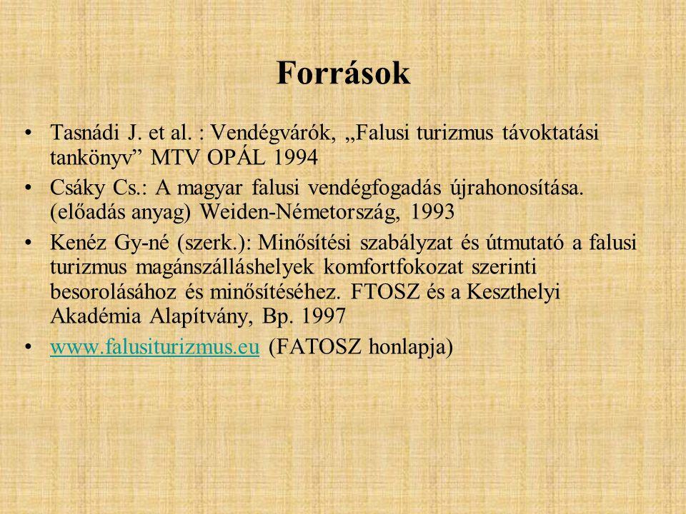 """Források Tasnádi J. et al. : Vendégvárók, """"Falusi turizmus távoktatási tankönyv"""" MTV OPÁL 1994 Csáky Cs.: A magyar falusi vendégfogadás újrahonosítása"""