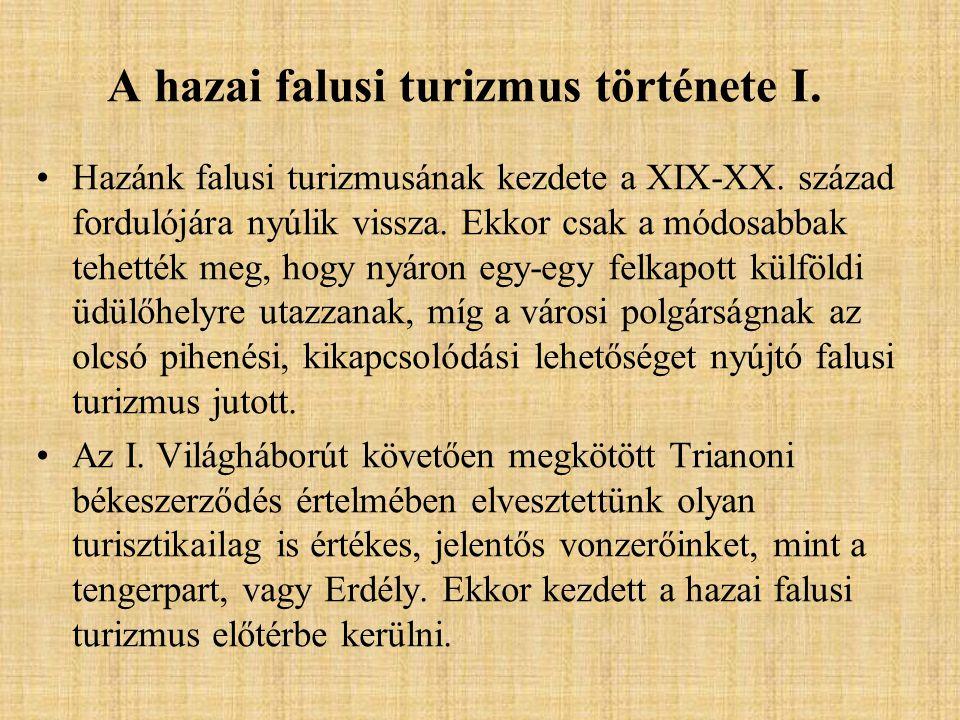 A hazai falusi turizmus története II.