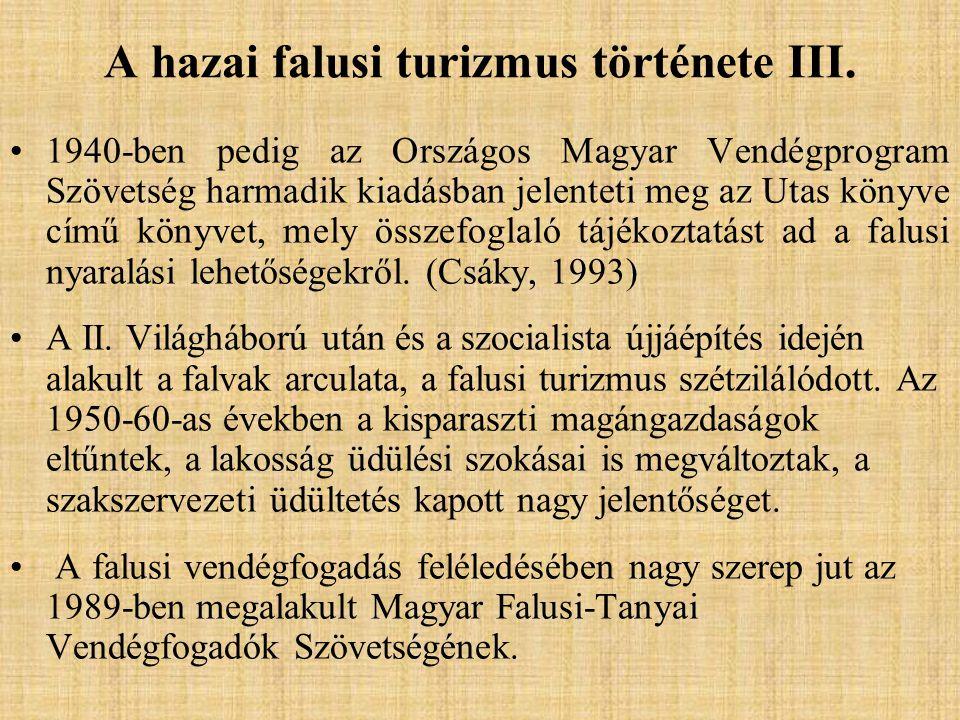A hazai falusi turizmus története III. 1940-ben pedig az Országos Magyar Vendégprogram Szövetség harmadik kiadásban jelenteti meg az Utas könyve című