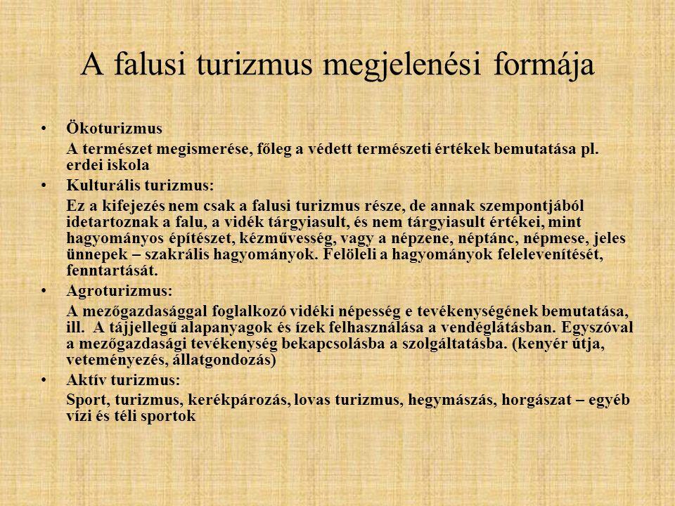 A Falusi- és Agroturizmus Országos Szövetsége 1994: Megalakulás (Falusi Turizmus Országos Szövetsége) A falusi turizmus minősítési szabályozásának kidolgozása, képzések 1997: 110/1997.