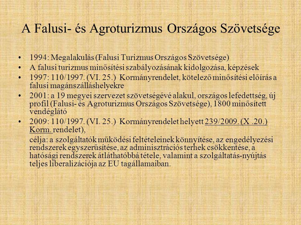 A Falusi- és Agroturizmus Országos Szövetsége 1994: Megalakulás (Falusi Turizmus Országos Szövetsége) A falusi turizmus minősítési szabályozásának kid