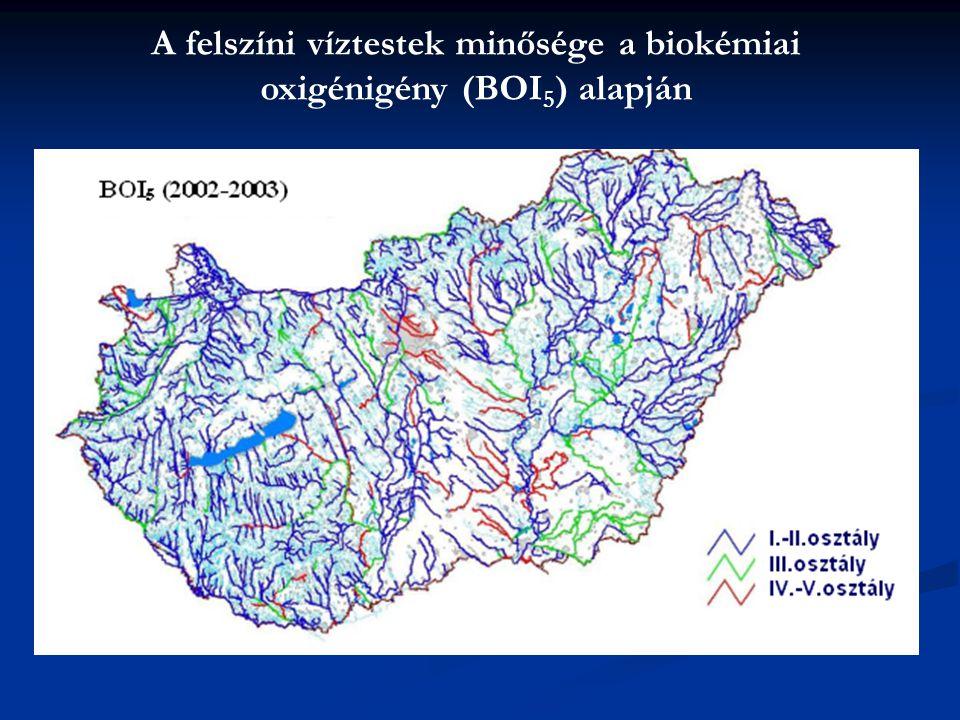 A felszíni víztestek minősége a biokémiai oxigénigény (BOI 5 ) alapján