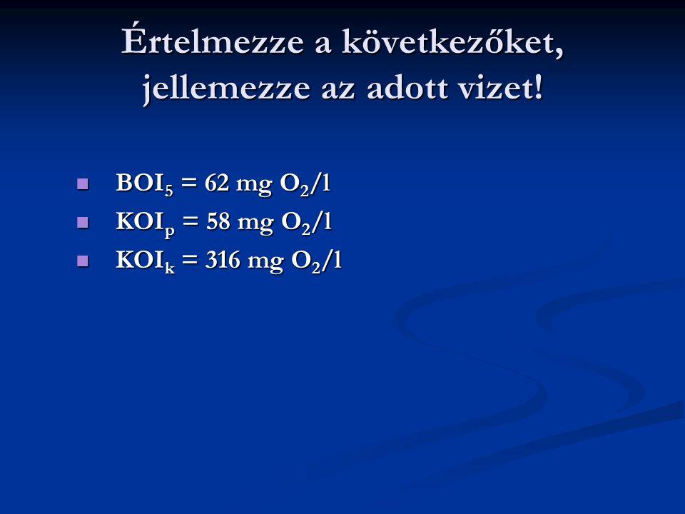 Értelmezze a következőket, jellemezze az adott vizet! BOI 5 = 62 mg O 2 /l BOI 5 = 62 mg O 2 /l KOI p = 58 mg O 2 /l KOI p = 58 mg O 2 /l KOI k = 316