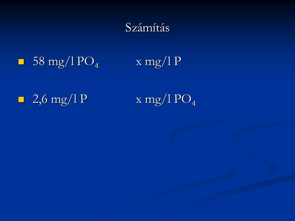 Számítás 58 mg/l PO 4 x mg/l P 58 mg/l PO 4 x mg/l P 2,6 mg/l Px mg/l PO 4 2,6 mg/l Px mg/l PO 4