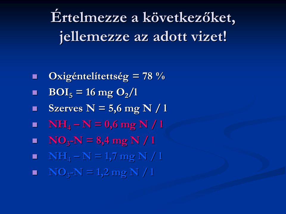 Értelmezze a következőket, jellemezze az adott vizet! Oxigéntelítettség = 78 % Oxigéntelítettség = 78 % BOI 5 = 16 mg O 2 /l BOI 5 = 16 mg O 2 /l Szer