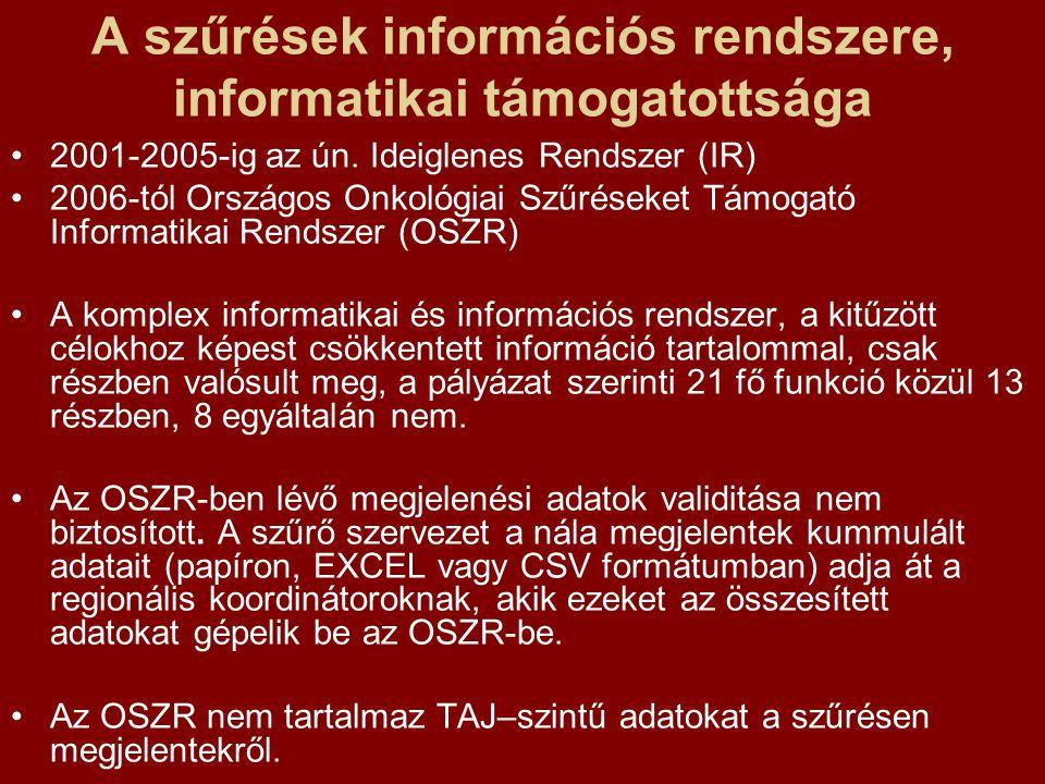 A szűrések információs rendszere, informatikai támogatottsága 2001-2005-ig az ún.