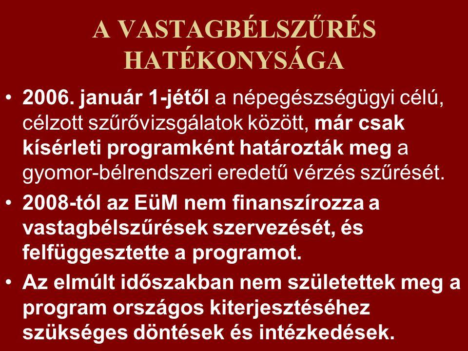 A VASTAGBÉLSZŰRÉS HATÉKONYSÁGA 2006.
