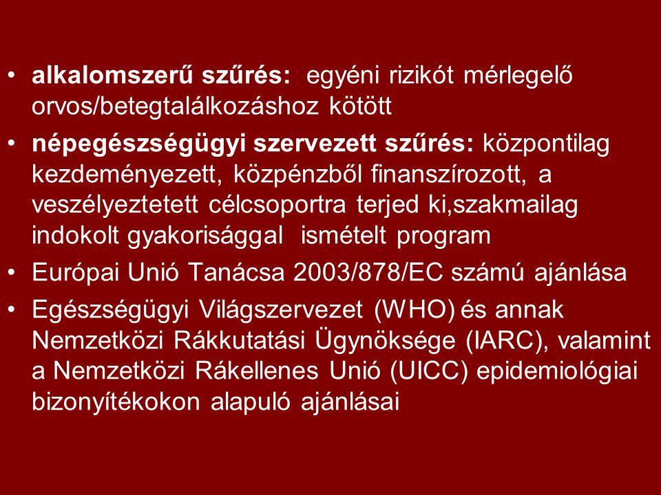 alkalomszerű szűrés: egyéni rizikót mérlegelő orvos/betegtalálkozáshoz kötött népegészségügyi szervezett szűrés: központilag kezdeményezett, közpénzből finanszírozott, a veszélyeztetett célcsoportra terjed ki,szakmailag indokolt gyakorisággal ismételt program Európai Unió Tanácsa 2003/878/EC számú ajánlása Egészségügyi Világszervezet (WHO) és annak Nemzetközi Rákkutatási Ügynöksége (IARC), valamint a Nemzetközi Rákellenes Unió (UICC) epidemiológiai bizonyítékokon alapuló ajánlásai