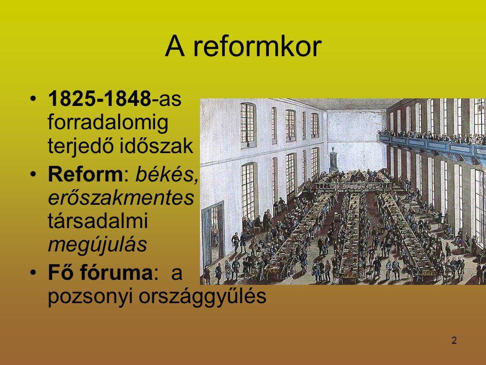 2 A reformkor 1825-1848-as forradalomig terjedő időszak Reform: békés, erőszakmentes társadalmi megújulás Fő fóruma: a pozsonyi országgyűlés