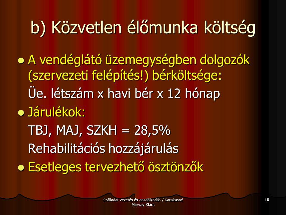 Szállodai vezetés és gazdálkodás / Karakasné Morvay Klára 18 b) Közvetlen élőmunka költség A vendéglátó üzemegységben dolgozók (szervezeti felépítés!)