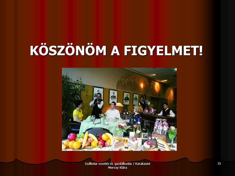 Szállodai vezetés és gazdálkodás / Karakasné Morvay Klára 21 KÖSZÖNÖM A FIGYELMET!