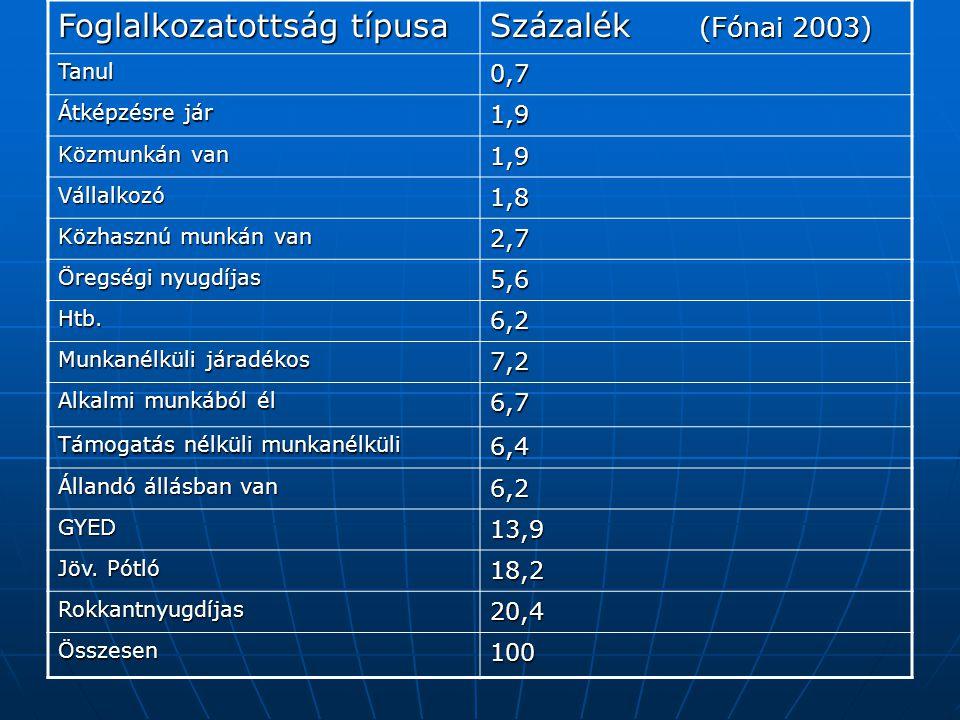 Foglalkozatottság típusa Százalék (Fónai 2003) Tanul0,7 Átképzésre jár 1,9 Közmunkán van 1,9 Vállalkozó1,8 Közhasznú munkán van 2,7 Öregségi nyugdíjas