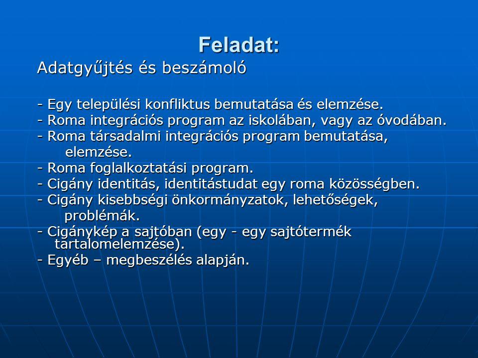 Feladat: Adatgyűjtés és beszámoló - Egy települési konfliktus bemutatása és elemzése. - Roma integrációs program az iskolában, vagy az óvodában. - Rom