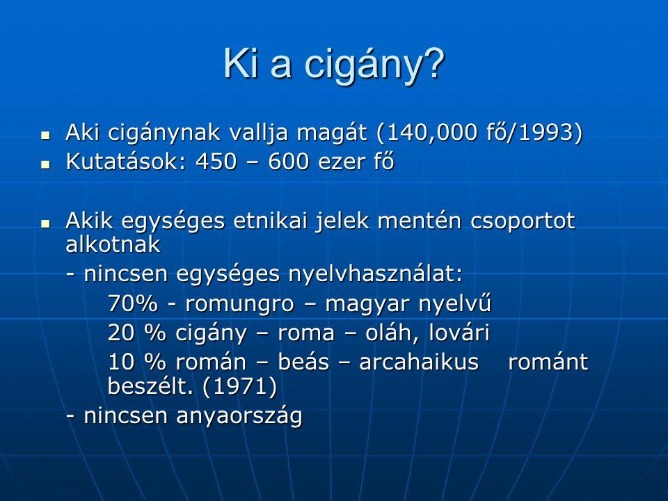 Ki a cigány? Aki cigánynak vallja magát (140,000 fő/1993) Aki cigánynak vallja magát (140,000 fő/1993) Kutatások: 450 – 600 ezer fő Kutatások: 450 – 6
