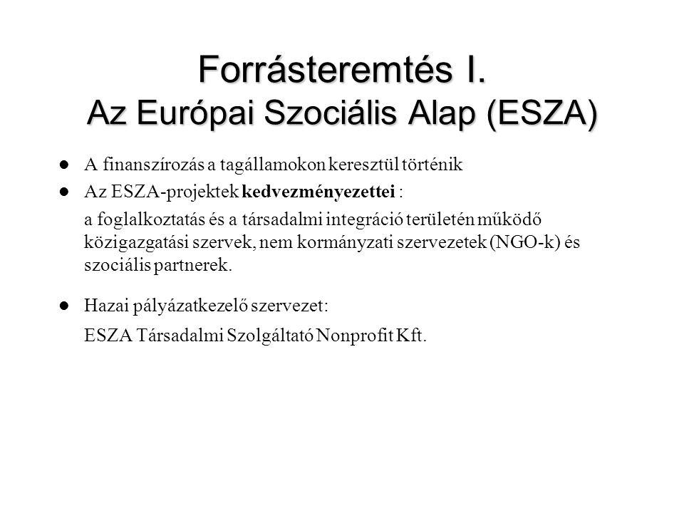 Forrásteremtés I. Az Európai Szociális Alap (ESZA) A finanszírozás a tagállamokon keresztül történik Az ESZA-projektek kedvezményezettei : a foglalkoz