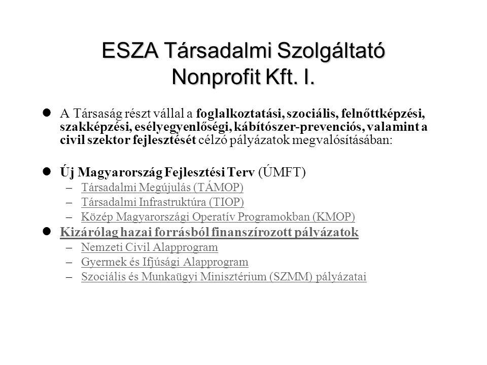 ESZA Társadalmi Szolgáltató Nonprofit Kft. I. A Társaság részt vállal a foglalkoztatási, szociális, felnőttképzési, szakképzési, esélyegyenlőségi, káb