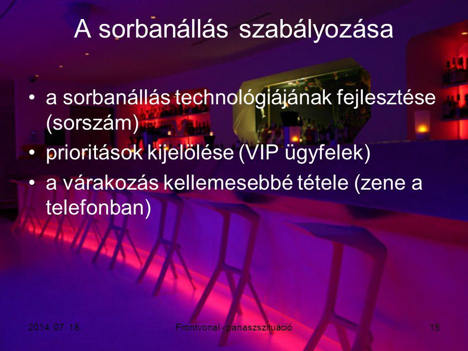 2014. 07. 18.Frontvonal - panaszszituáció15 A sorbanállás szabályozása a sorbanállás technológiájának fejlesztése (sorszám) prioritások kijelölése (VI