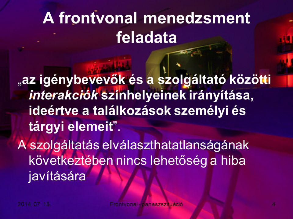 """2014. 07. 18.Frontvonal - panaszszituáció4 A frontvonal menedzsment feladata """"az igénybevevők és a szolgáltató közötti interakciók színhelyeinek irány"""