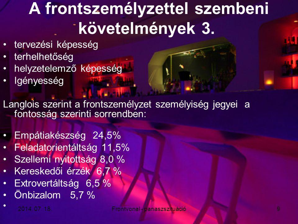 2014. 07. 18.Frontvonal - panaszszituáció9 A frontszemélyzettel szembeni követelmények 3. tervezési képesség terhelhetőség helyzetelemző képesség Igén