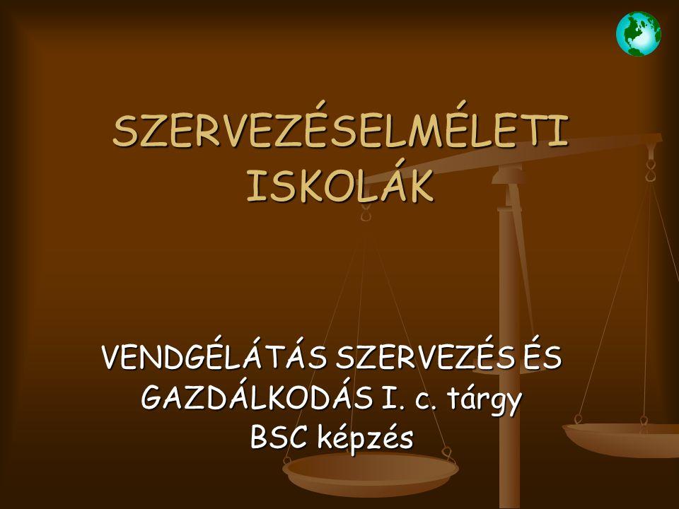 SZERVEZÉSELMÉLETI ISKOLÁK VENDGÉLÁTÁS SZERVEZÉS ÉS GAZDÁLKODÁS I. c. tárgy BSC képzés
