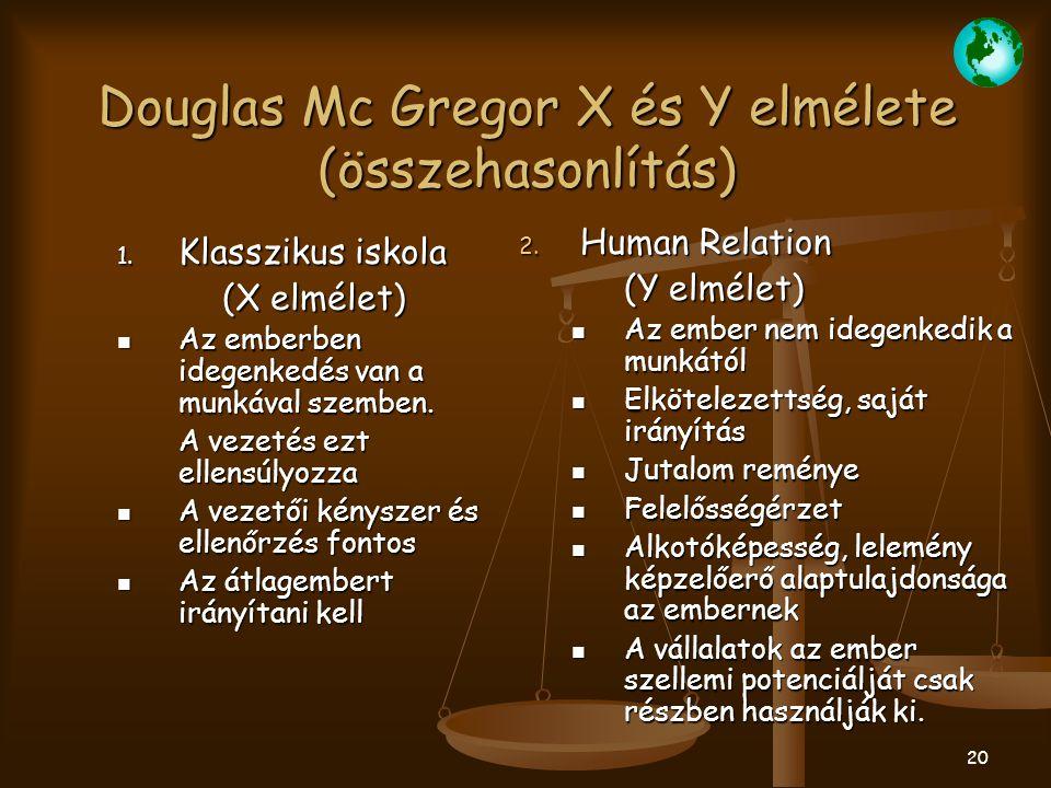 20 Douglas Mc Gregor X és Y elmélete (összehasonlítás) 1. Klasszikus iskola (X elmélet) Az emberben idegenkedés van a munkával szemben. Az emberben id