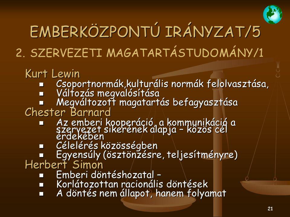 21 EMBERKÖZPONTÚ IRÁNYZAT/5 Kurt Lewin Csoportnormák,kulturális normák felolvasztása, Csoportnormák,kulturális normák felolvasztása, Változás megvalós