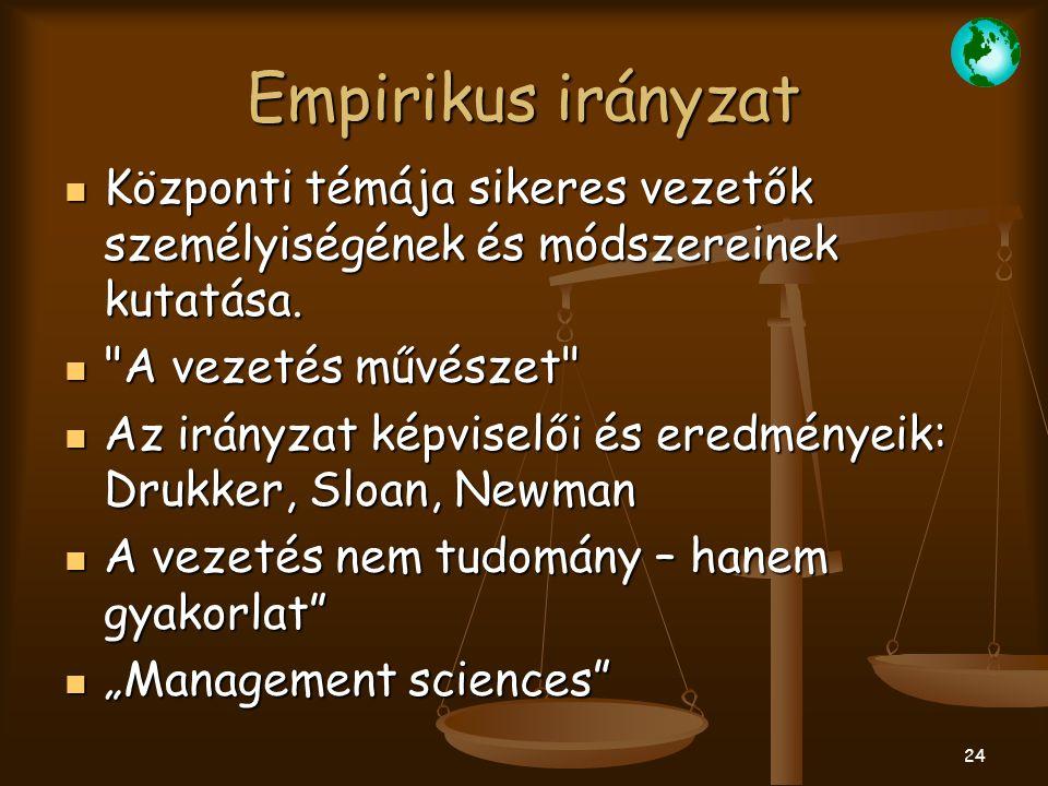 24 Empirikus irányzat Központi témája sikeres vezetők személyiségének és módszereinek kutatása. Központi témája sikeres vezetők személyiségének és mód