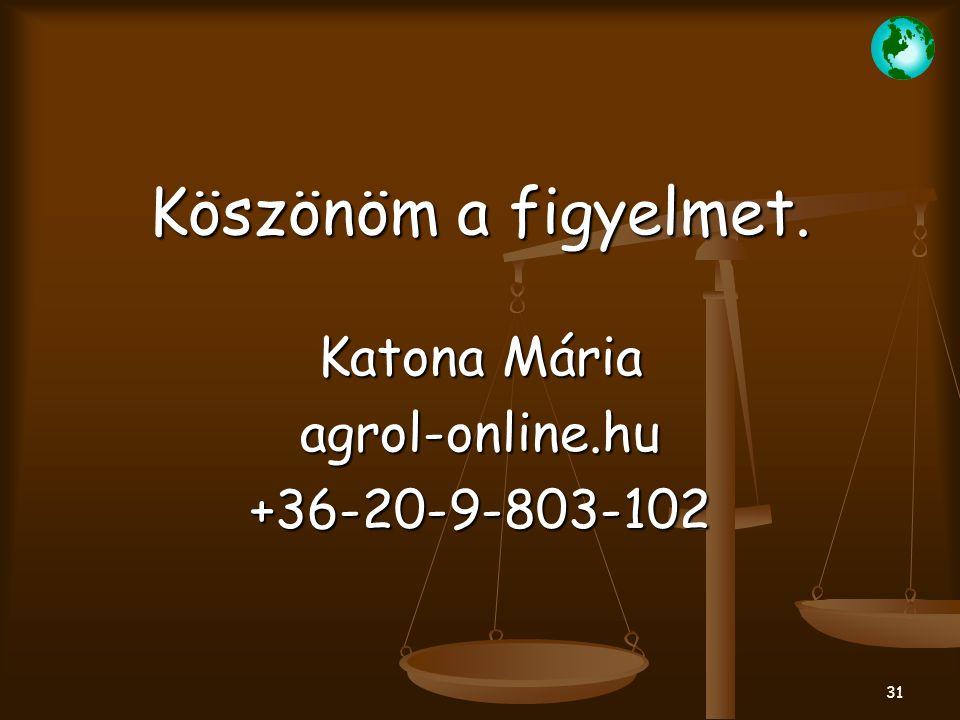 31 Köszönöm a figyelmet. Katona Mária agrol-online.hu+36-20-9-803-102