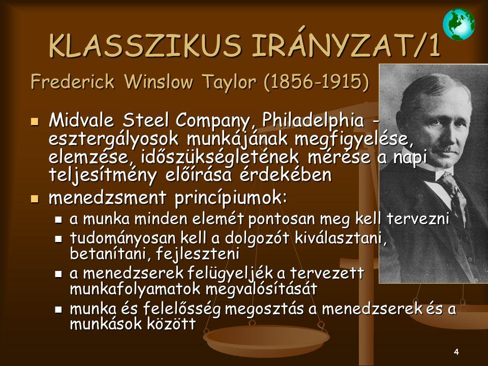 4 KLASSZIKUS IRÁNYZAT/1 Midvale Steel Company, Philadelphia - esztergályosok munkájának megfigyelése, elemzése, időszükségletének mérése a napi teljes