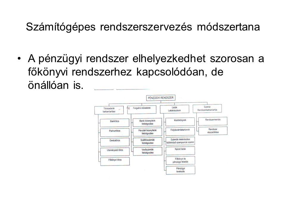 Számítógépes rendszerszervezés módszertana A pénzügyi rendszer elhelyezkedhet szorosan a főkönyvi rendszerhez kapcsolódóan, de önállóan is.