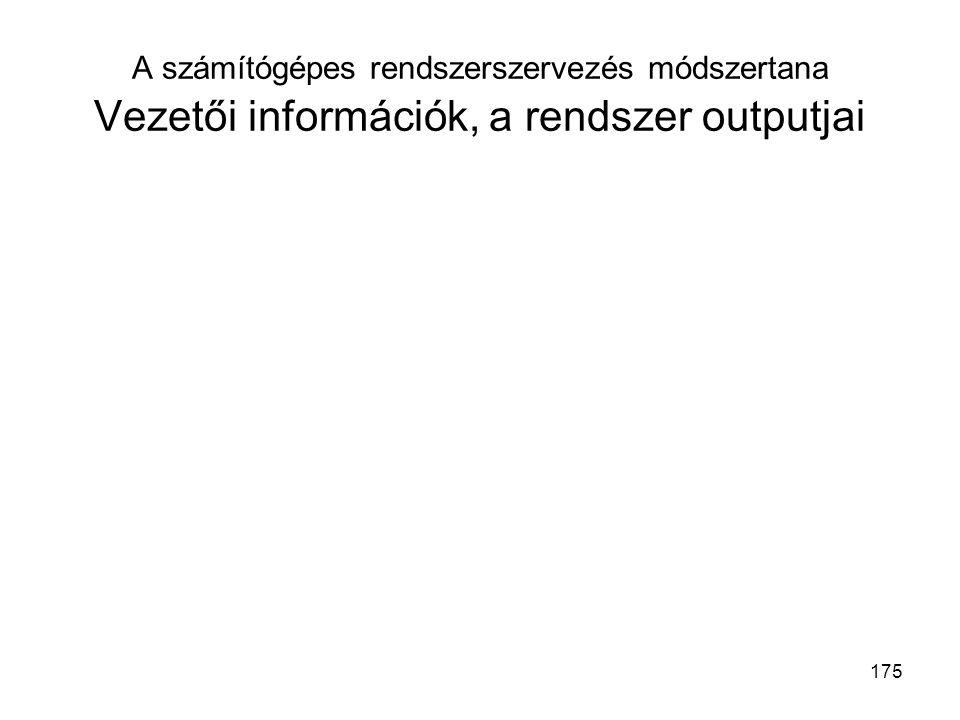 175 A számítógépes rendszerszervezés módszertana Vezetői információk, a rendszer outputjai