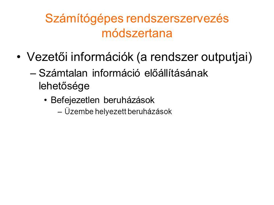 Számítógépes rendszerszervezés módszertana Vezetői információk (a rendszer outputjai) –Számtalan információ előállításának lehetősége Befejezetlen ber