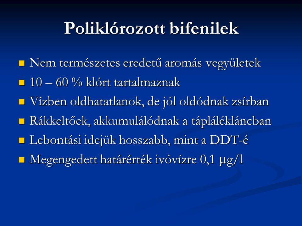 Poliklórozott bifenilek Nem természetes eredetű aromás vegyületek Nem természetes eredetű aromás vegyületek 10 – 60 % klórt tartalmaznak 10 – 60 % kló