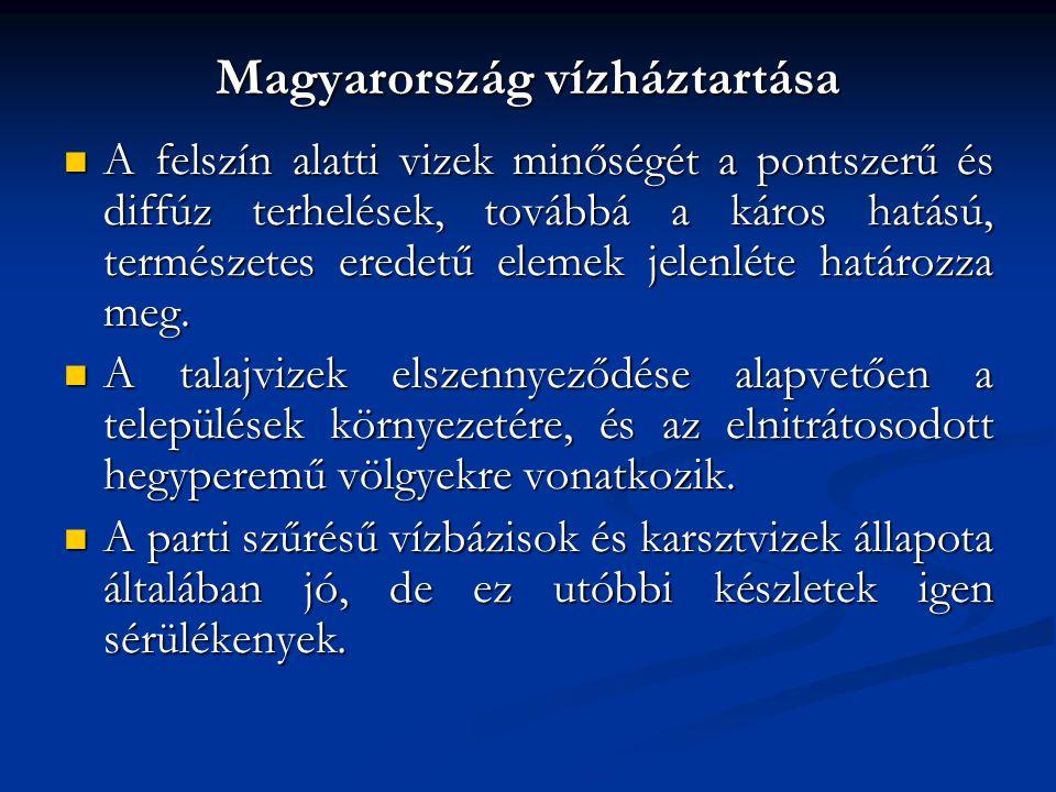 Magyarország vízháztartása A felszín alatti vizek minőségét a pontszerű és diffúz terhelések, továbbá a káros hatású, természetes eredetű elemek jelen