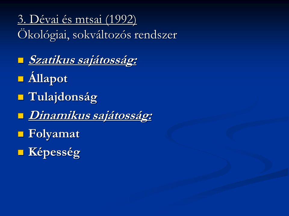 3. Dévai és mtsai (1992) Ökológiai, sokváltozós rendszer Szatikus sajátosság: Szatikus sajátosság: Állapot Állapot Tulajdonság Tulajdonság Dinamikus s