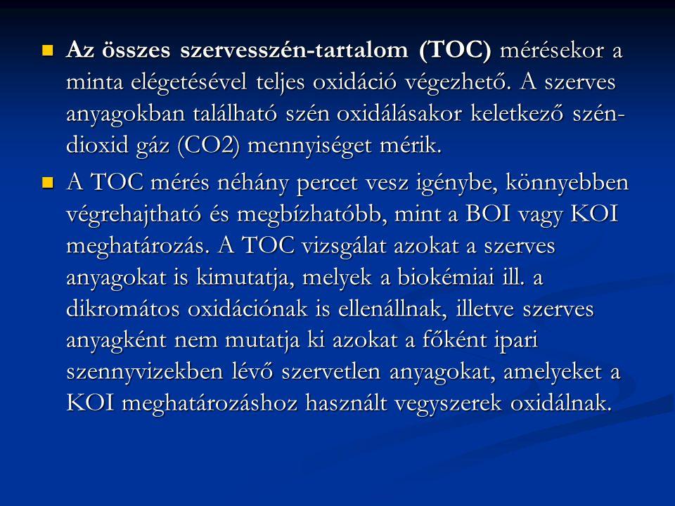 Az összes szervesszén-tartalom (TOC) mérésekor a minta elégetésével teljes oxidáció végezhető. A szerves anyagokban található szén oxidálásakor keletk