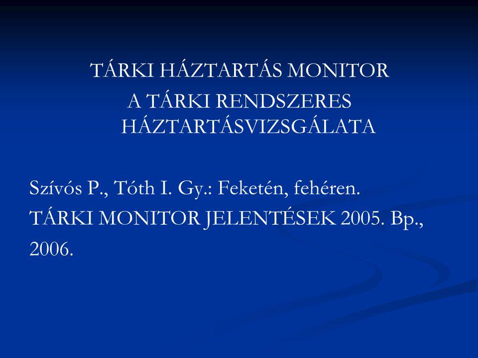 TÁRKI HÁZTARTÁS MONITOR A TÁRKI RENDSZERES HÁZTARTÁSVIZSGÁLATA Szívós P., Tóth I. Gy.: Feketén, fehéren. TÁRKI MONITOR JELENTÉSEK 2005. Bp., 2006.